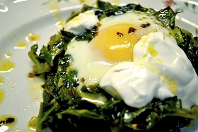 Baked Eggs with Spinach, Yogurt, and Spiced Butter