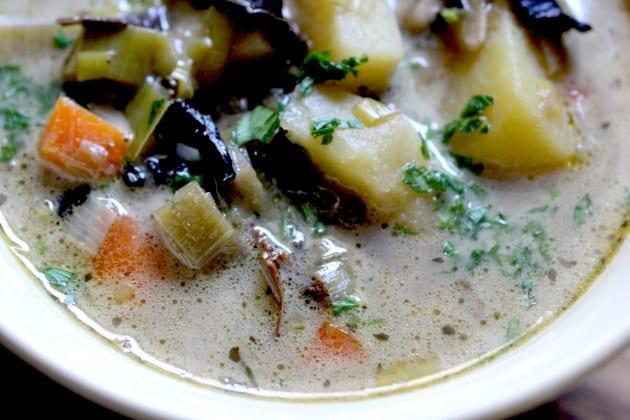 Dry Mushroom and Leek Soup With Farro