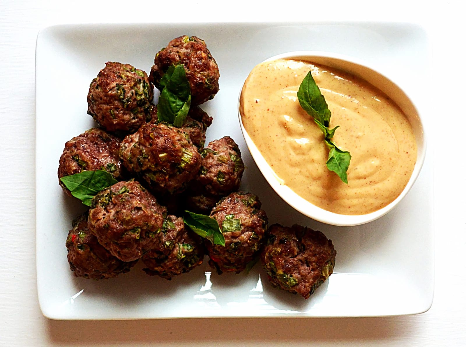 Thai Meatballs with Peanut Satay Dipping Sauce