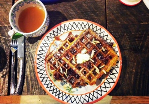Pumpkin Multigrain Waffles with Apple Cider Syrup