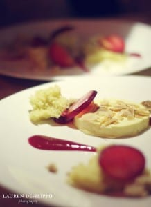 Almond semifreddo with elephant heart plums