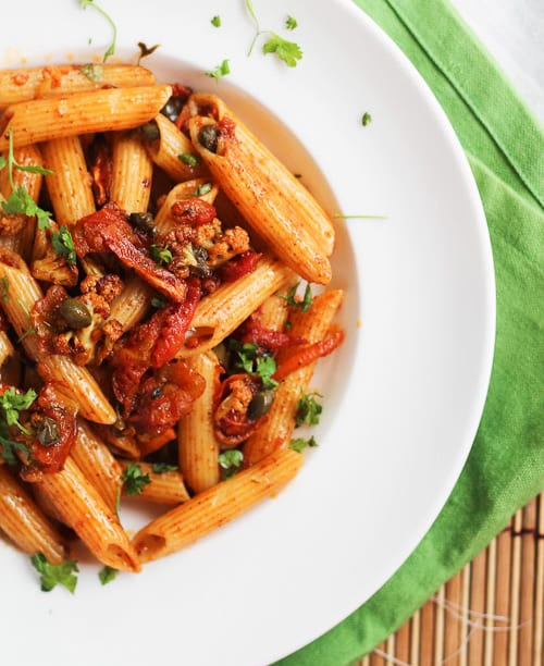 Pasta with Harissa Roasted Cauliflower, Tomatoes, Carrots and Capers