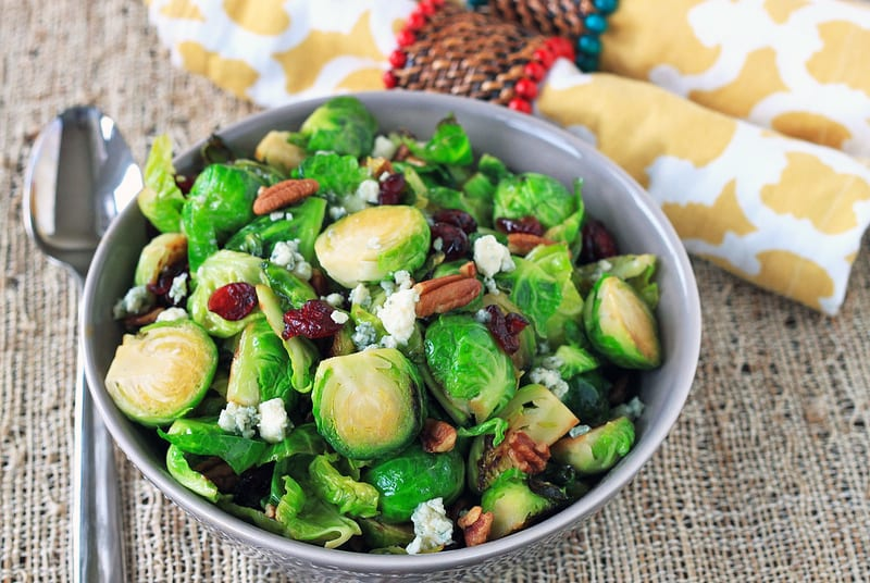 Brussels Sprouts Salad with Blue Cheese and Maple Dressing