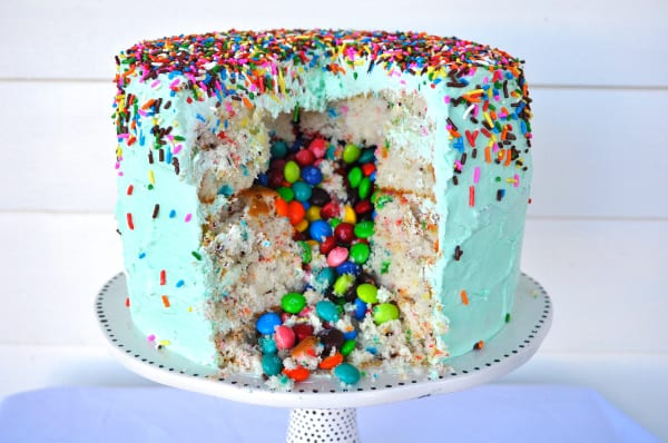 Candy-Filled Funfeti Piñata Cake