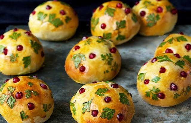 Brioche Rolls with Parsley and Pomegranate
