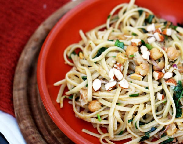 Pasta with Greens, Chickpeas and Almonds