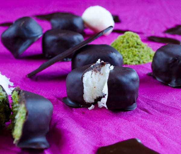 Coconut Pistachio Chocolate Candies