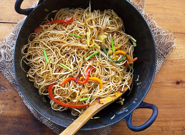 Curried Rice Noodles with Mixed Veggies