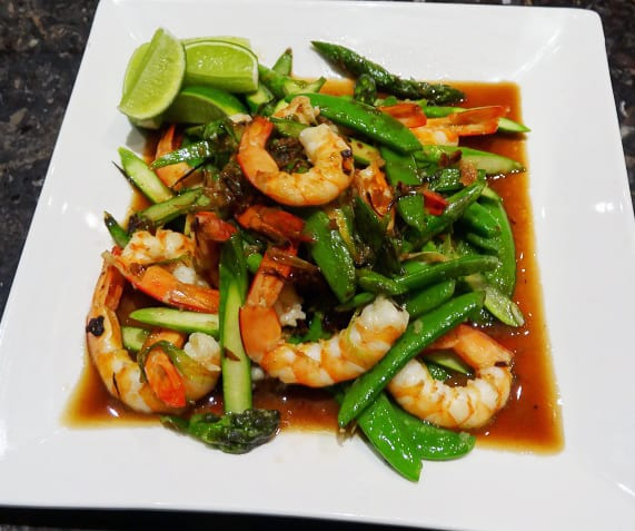 Stirfried Prawns with Asparagus and Ginger