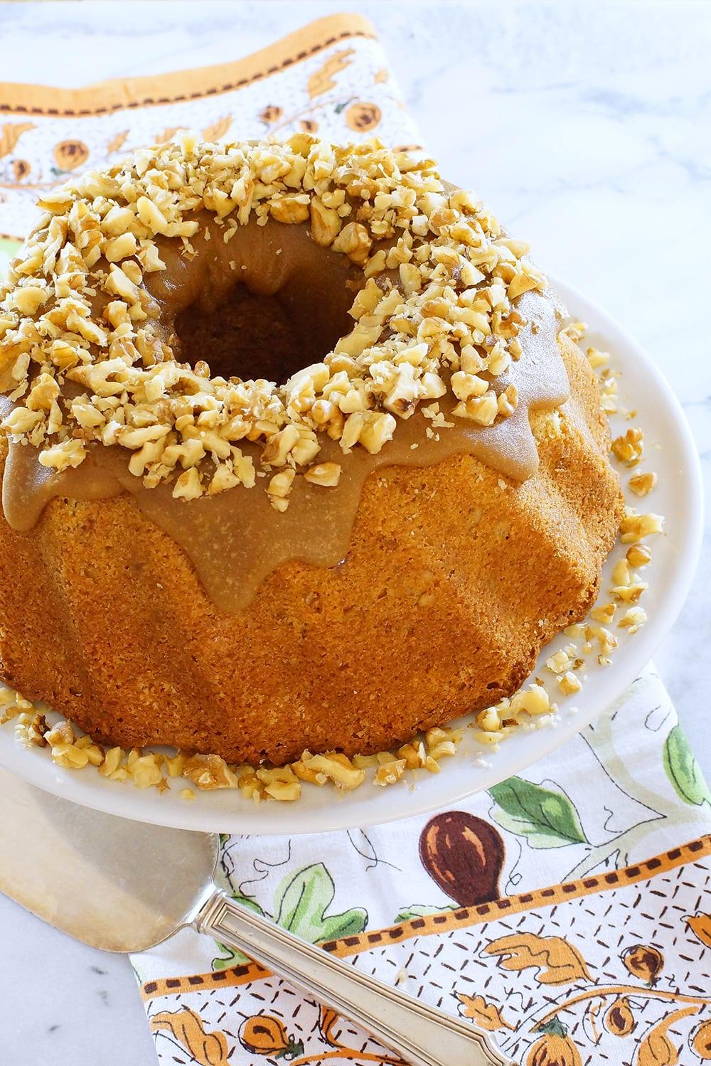 Pound Cake with Walnuts and Brown Sugar Glaze