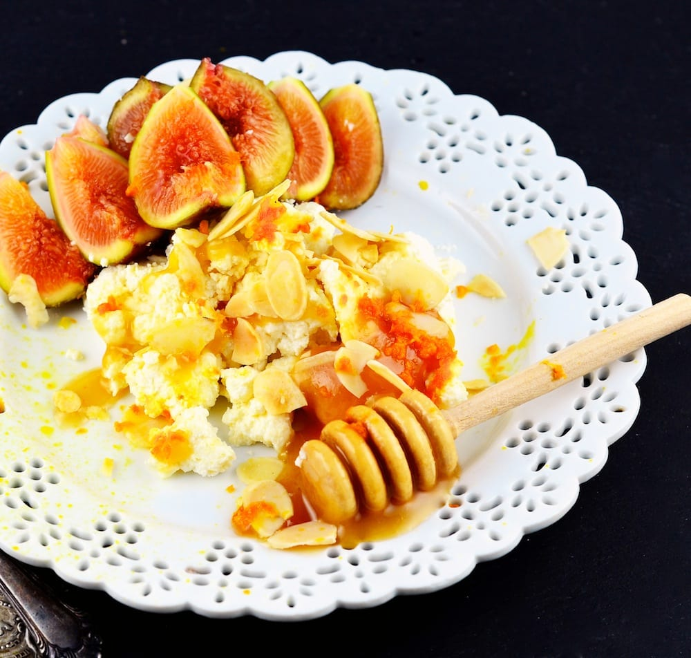 Orange Cardamom Ricotta with Honey, Figs and Almonds
