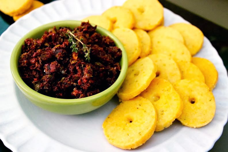 Thyme and Manchego Crackers with Kalamata Olive and Fig Tapenade