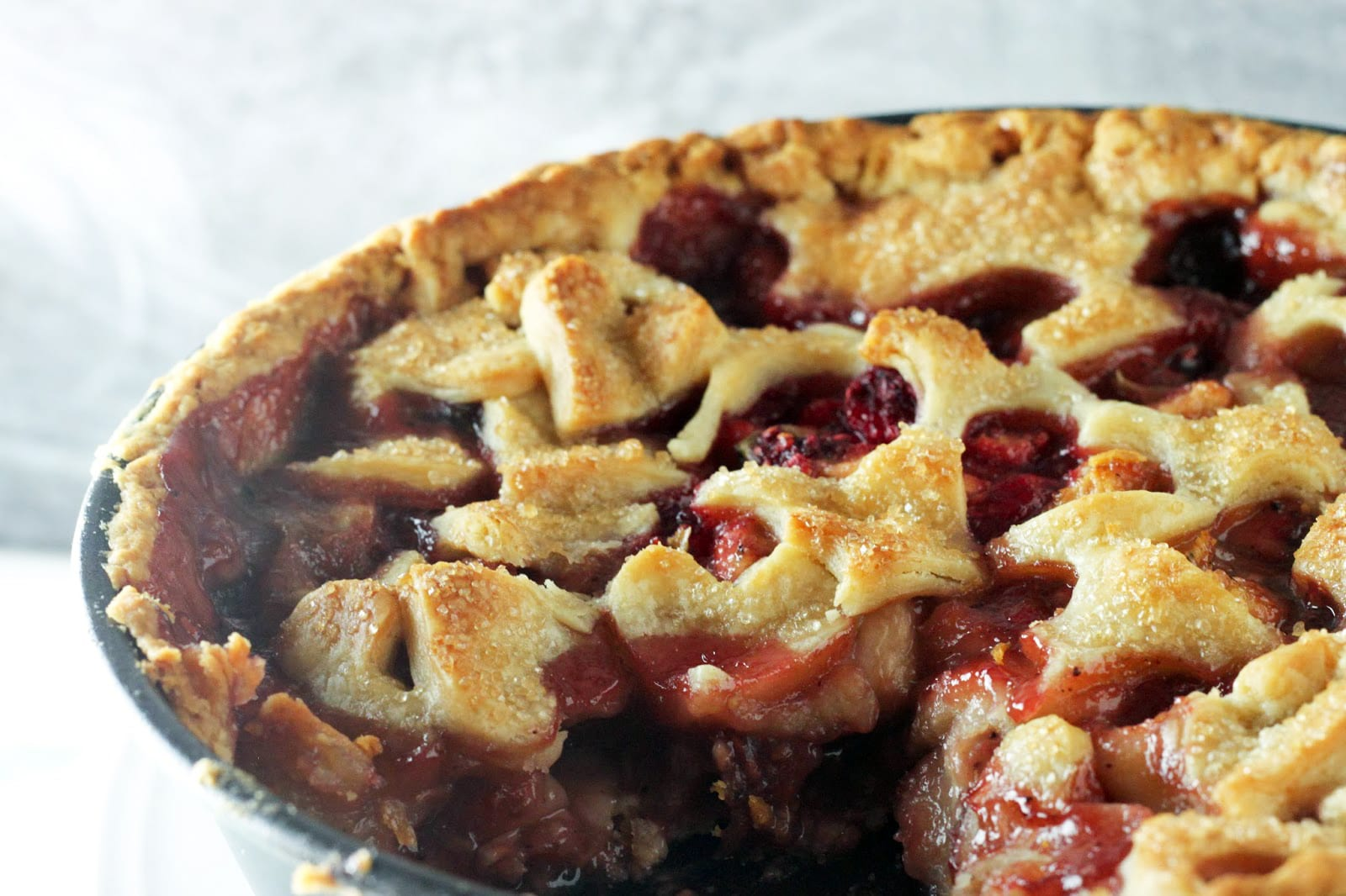 Peach, Raspberry and Basil Pie