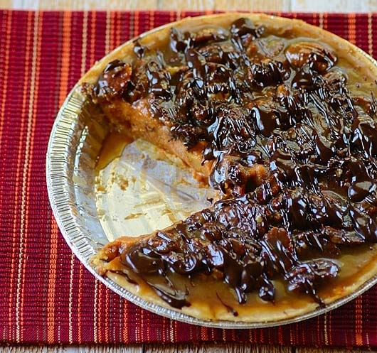 Pumpkin Pie with Pecan-Chocolate Topping