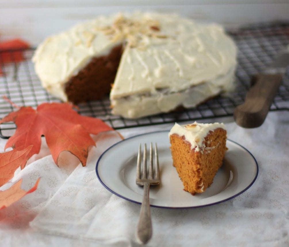 Pumpkin Spice Cake with Honey Cream Cheese Frosting
