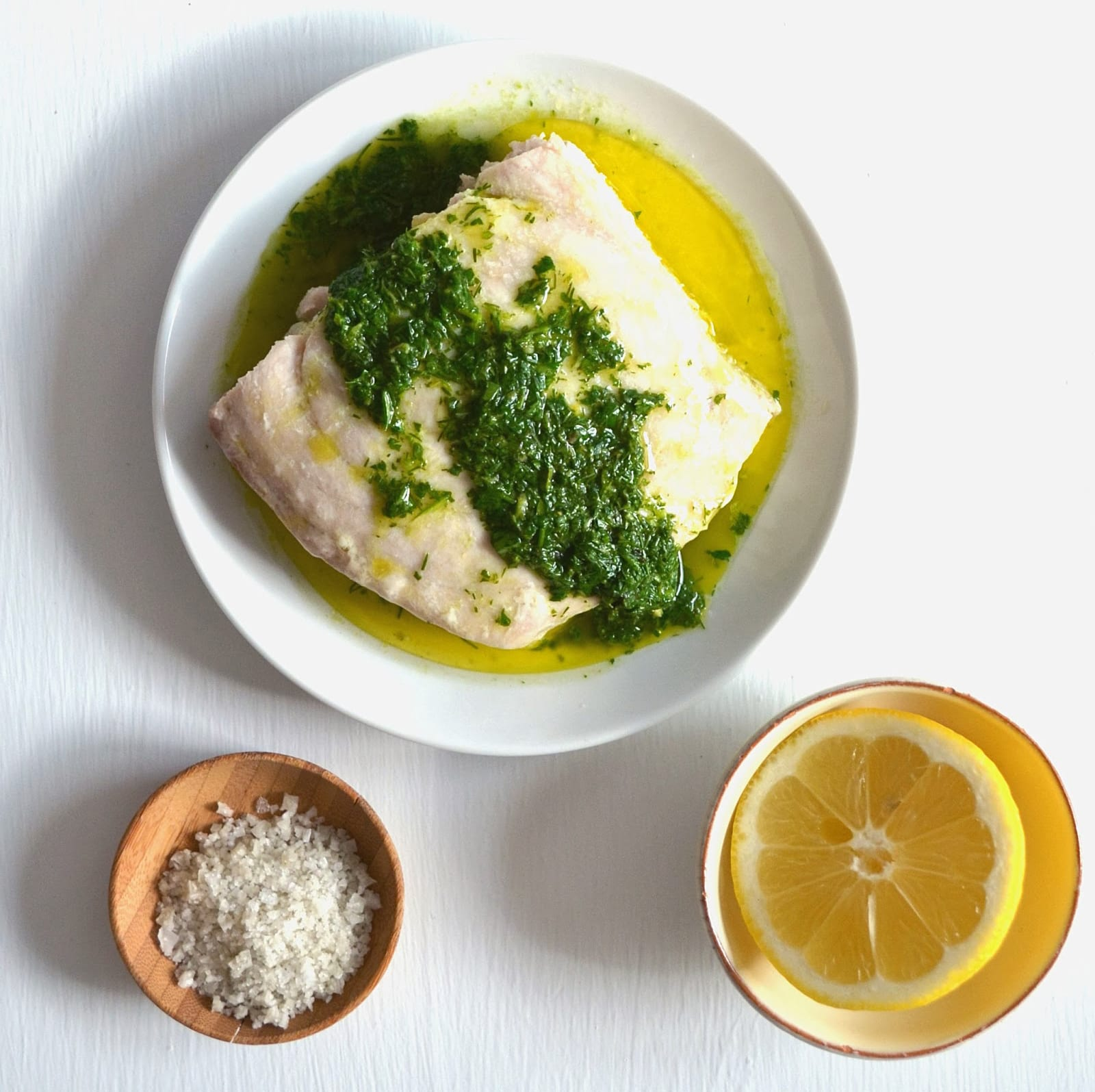 Oven-Baked Fish with Lemon Herb Sauce