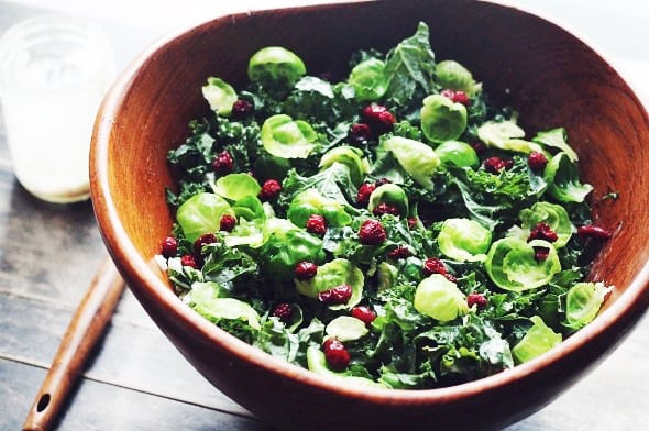 Kale and Brussels Sprouts Salad with Creamy Maple Dressing