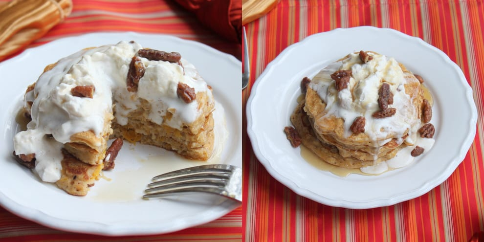 Pumpkin Pie Pancakes with Maple Pecans and Maple Cinnamon Whipped Cream