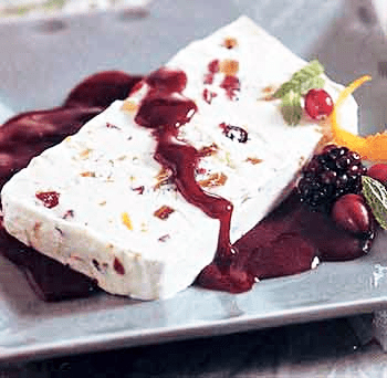 Fig and Cranberry Semifreddo with Blackberry Sauce