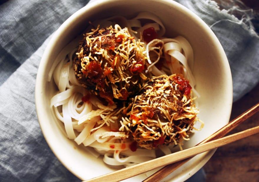 Fried Spicy Tofu and Eggplant Balls