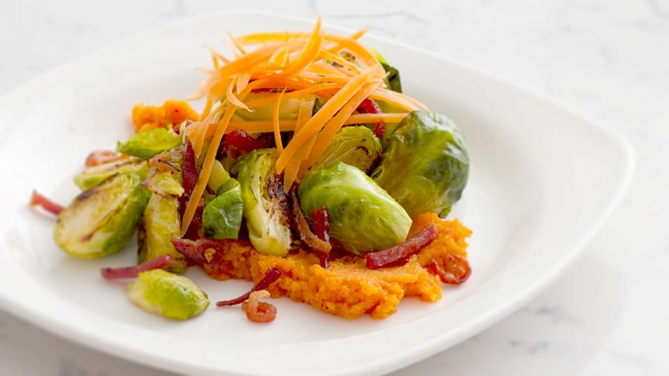 David Chang's Brussels Sprouts with Kimchi Puree and Bacon