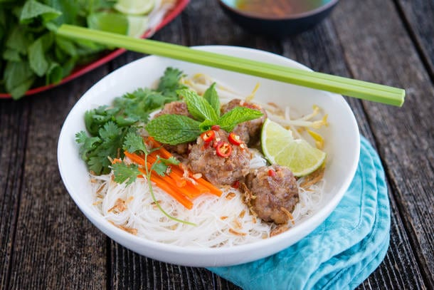 Vietnamese inspired Pork Balls on Rice Vermicelli recipe