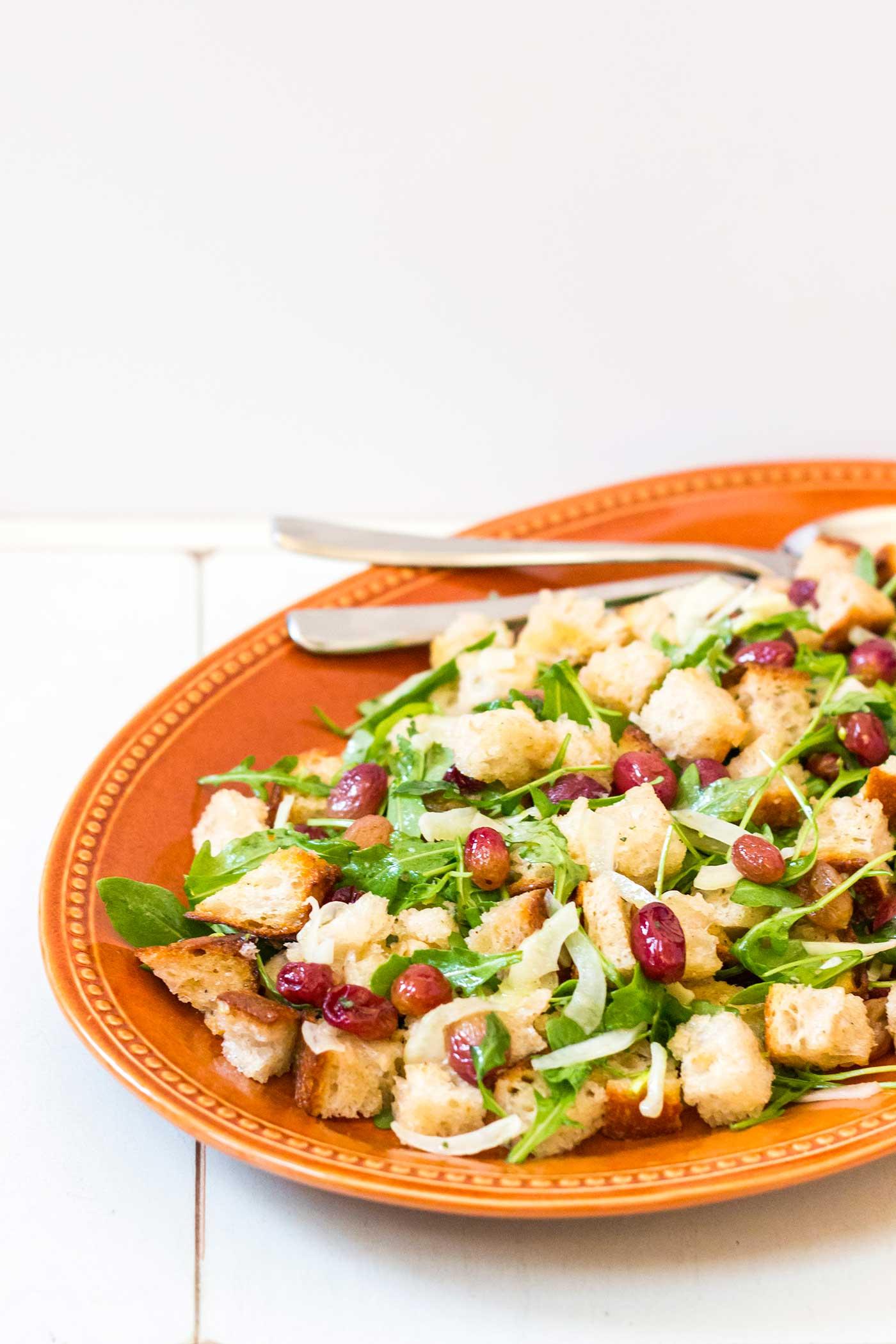 Roasted Grape Panzanella Salad Recipe