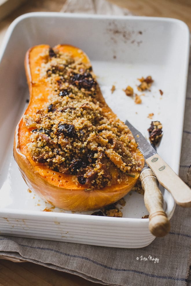 Vegan Stuffed Butternut Squash with Mushrooms and Couscous Recipe