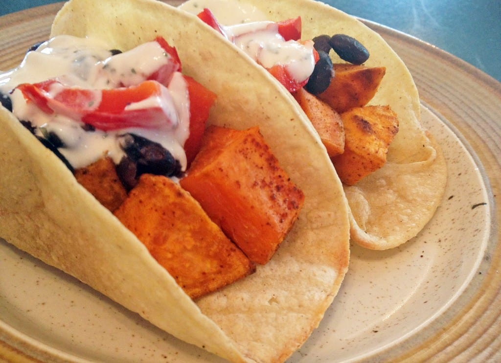 Chipotle Sweet Potato Tacos with Lime Cream Recipe