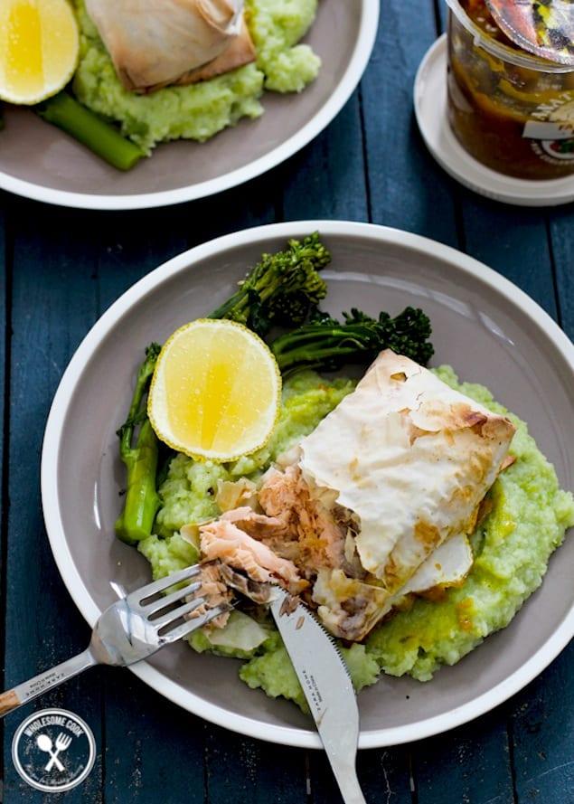 baked salmon filo parcels recipe