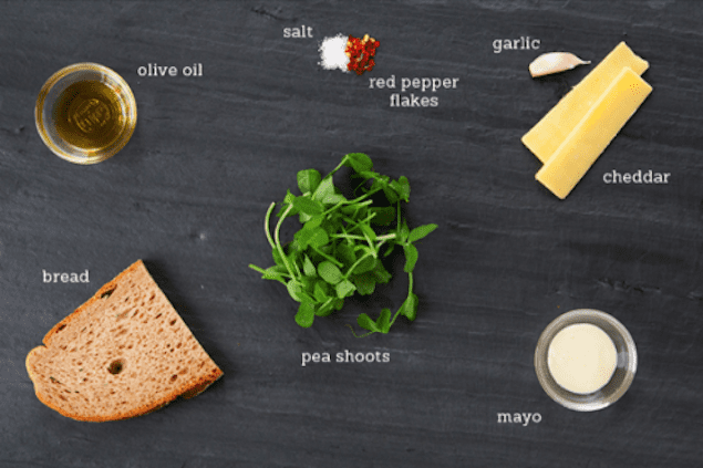 pea shoot grilled cheese recipe