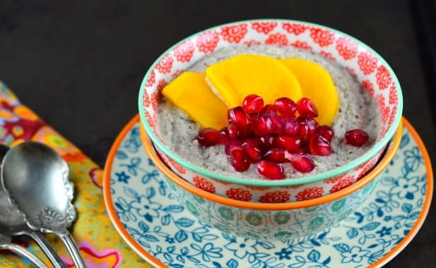 """Almond """"Yogurt"""" with Persimmons and Chia"""