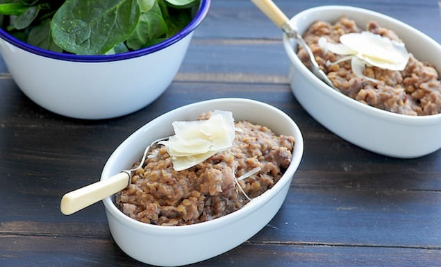 red lentil risotto with sausage