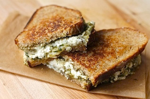 triple cheese pesto grilled cheese recipe