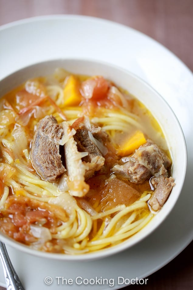 Spaghetti in Beef Rib and Haricot Beans Stew