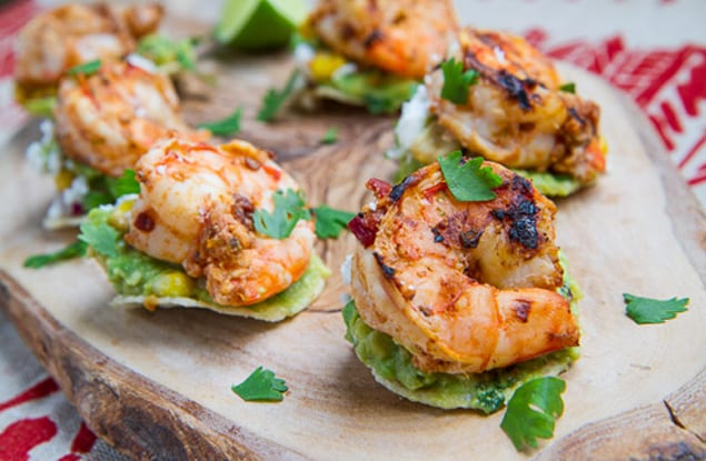 Chipotle Lime Grilled Shrimp and Corn Guacamole Mini Tostadas 500 5710