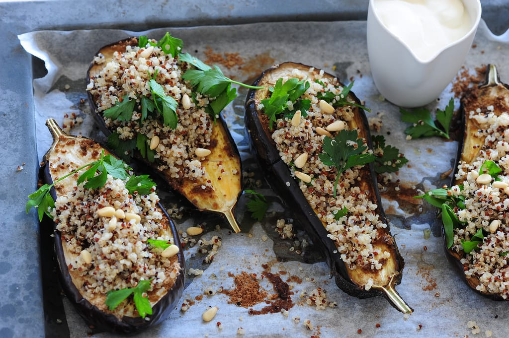 Spiced Eggplant with Yogurt and Quinoa - Honest Cooking