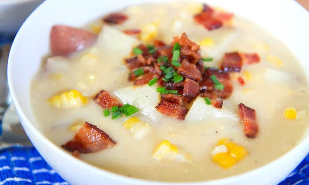 Cream-less Corn Chowder with Bacon