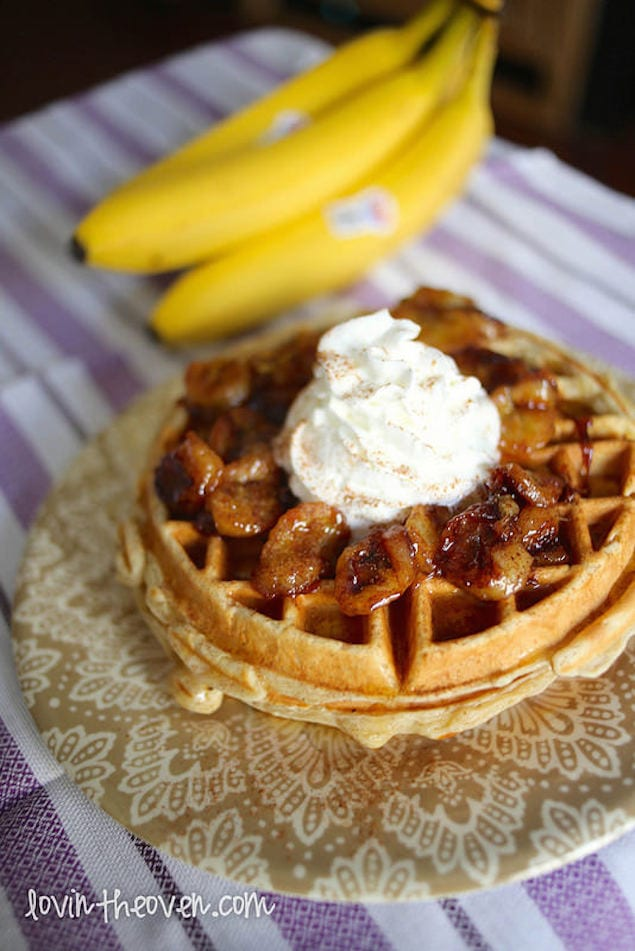 Banana-Cinnamon Waffles with Caramelized Banana Topping