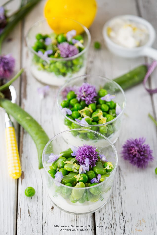 Peas, Fava Beans & Herb Flowers with Lemon Ricotta Cream