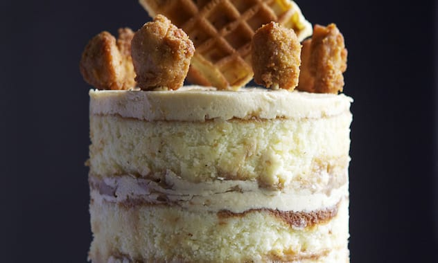 Chicken & Waffles Cake — yellow buttermilk cake, maple frosting, spicy sage caramel -- Glazed & Confused-1