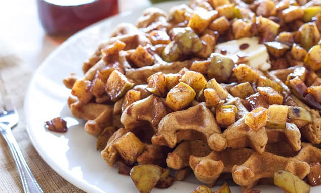 Apple Topped Cinnamon Waffles – Honest Cooking