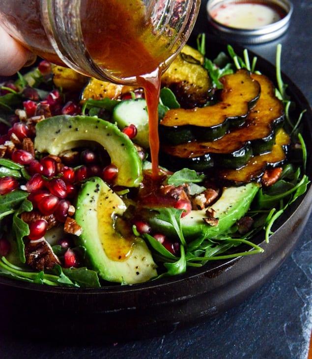 Autumn-Arugula-Salad-with-Caramelized-Squash-Spiced-Pecans-and-Pomegranate-Ginger-Vinaigrette-5