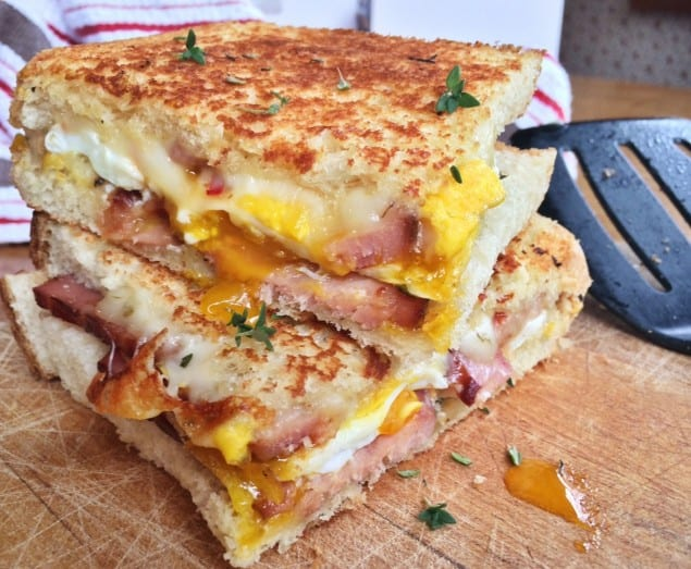 Grilled Pepper Jack Cheese Sandwich with Egg and Ham – Honest ...