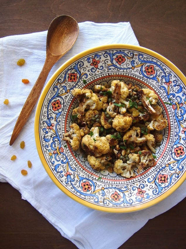 Roasted Cauliflower with Golden Raisins and Capers – Honest Cooking