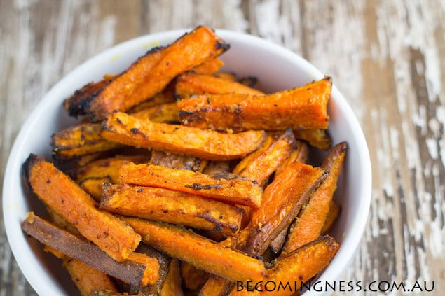 Baked Sweet Potato Fries With Garlic Butter