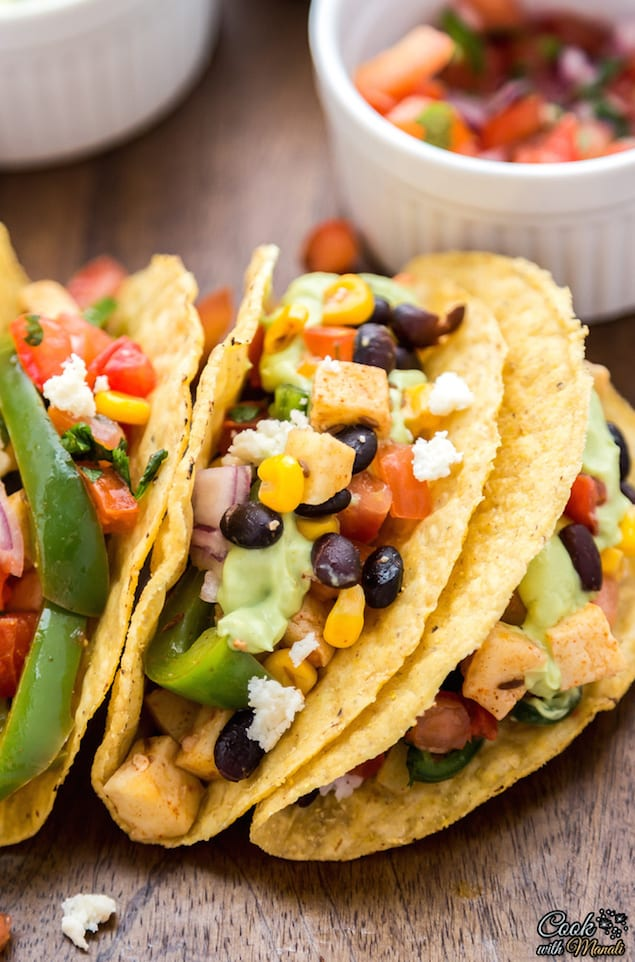Vegetarian Tacos with Black Beans and Paneer