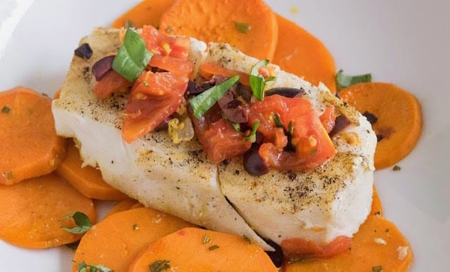 Baked halibut and sweet potato graphic