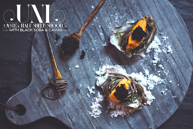 Uni-Oyster-Shooters-With-Black-Soba-And-Caviar-Dine-X-Design
