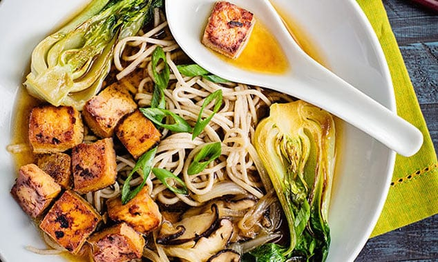 Soba Noodle Soup with Baby Bok Choy and Tofu
